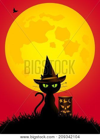 Halloween Background with Spooky Cat with Hat lantern and big Yellow Moon Over Red