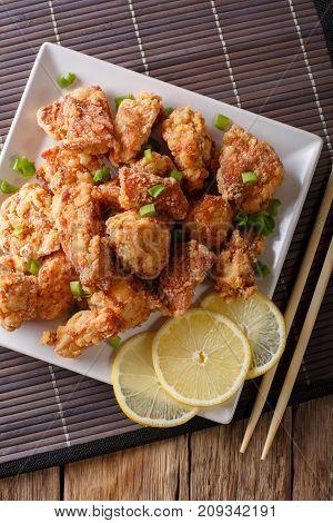 Karaage -  Japanese Style Fried Chicken Closeup. Vertical Top View