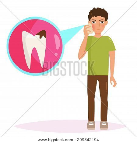 Boy with a toothache. Vector. Cartoon. Isolated art on white background. Flat