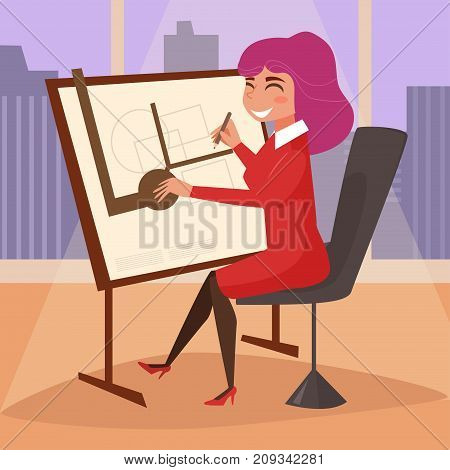 Architect. Drawing board. Vector. Cartoon. Isolated art on white background Flat