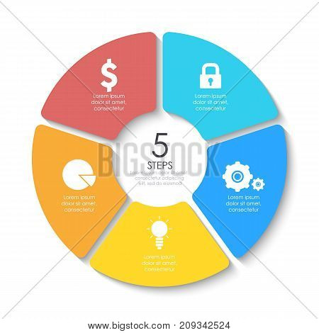 Set of round infographic diagram. Circles of 5 elements or steps. Vector EPS10