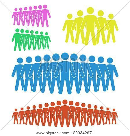 A group of people icon in different version, vector illustration, flat syle