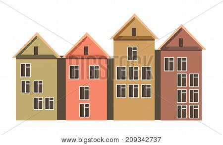 Row of town houses with attics and colorful walls that has many storeys isolated cartoon flat vector illustration on white background. Convenient cozy dwellings with plastic windows placed close.