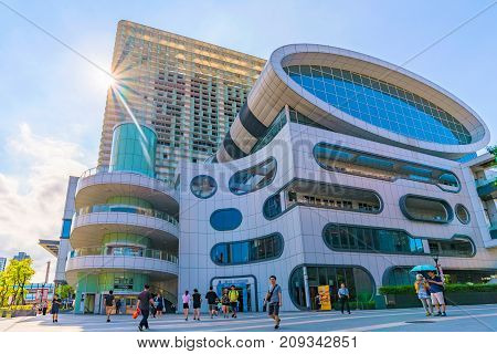 TAIPEI TAIWAN - JULY 15: This is Syntrend shopping mall. It is a newly built mall which is dedicated to selling consumer electronics on July 15 2017 in Taipei