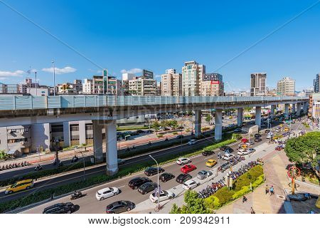 TAIPEI TAIWAN - JULY 15: This is a view of the downtown area near Guanghua digital plaza a popular electronics shopping area on July 15 2017 in Taipei