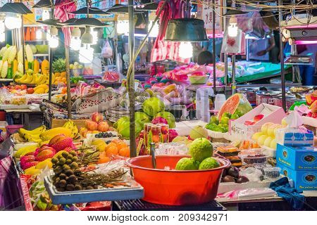 TAIPEI TAIWAN - JULY 14: This is a typical night market fruit stall which are common across night markets in Taiwan on July 14 2017 in Taipei