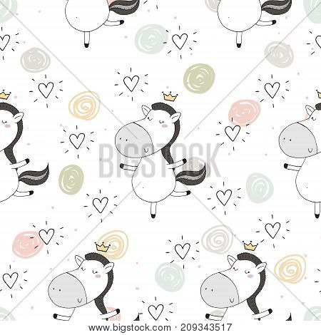 Cute seamless pattern with funny pony. vector illustration.