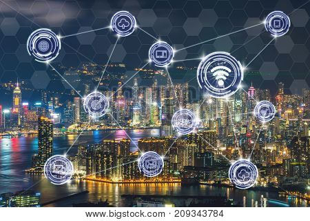Wireless communication connecting of smart city Internet of Things Technology over the Scene of Hong Kong Cityscape river side at Victoria harbour technology IOT concept, 3D illustration