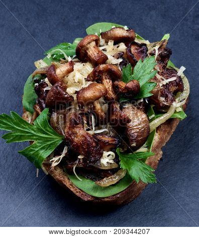 Delicious Roasted Sandwiches Crostini with Mushrooms Chanterelles Cheese Parsley and Sliced Onion on Whole Grain Bread closeup on Slate background