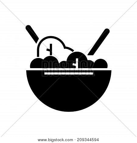 salad bowl eco icon, illustration, vector sign on isolated background