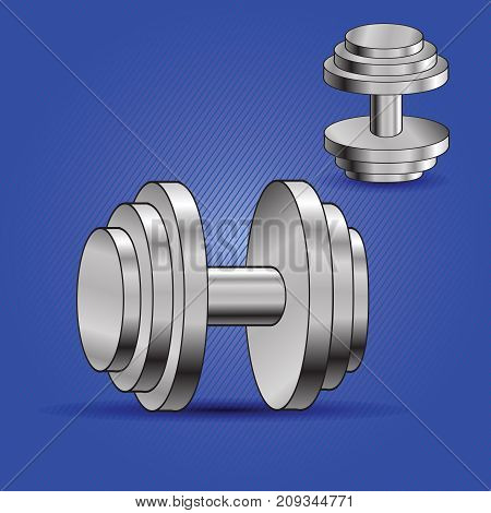 colorful illustration with two dumbbells on blue background