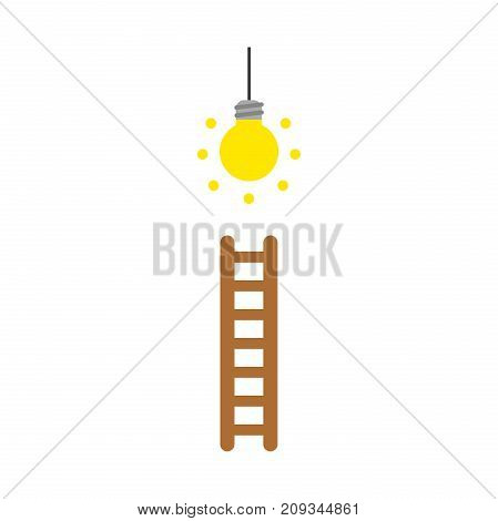 Flat design style vector illustration concept of climb to glowing yellow light bulb with brown wooden ladder symbol icon on white background.