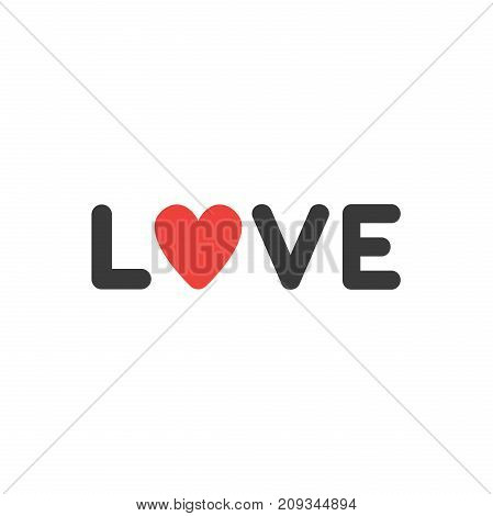 Flat Design Style Vector Concept Of Love Text With Heart Icon On White