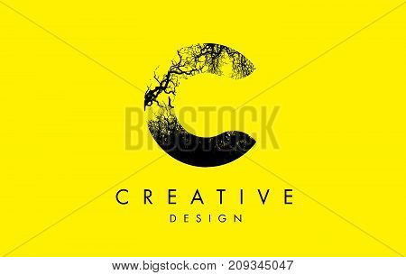 C Logo Letter Made From Black Tree Branches