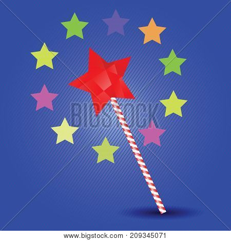 Magic wand and colored stars on blue background