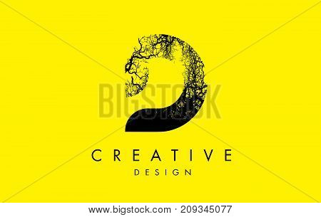 D Logo Letter Made From Black Tree Branches