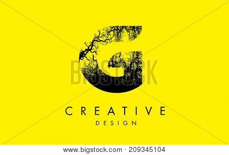G Logo Letter Made From Black Tree Branches