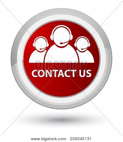 Contact Us (customer Care Team Icon) Prime Red Round Button