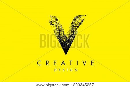 V Logo Letter Made From Black Tree Branches
