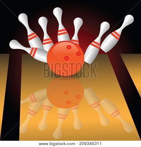 bowling sport game with red ball and pins set