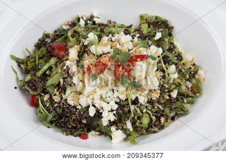 healthy and delicious quinoa salad with feta cheese, tomato, lettuce, red pepper, purslane and oat