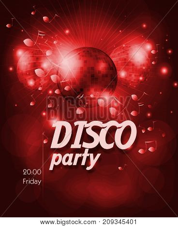 Red poster for disco party with disco ball