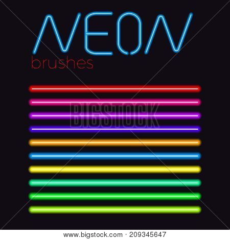 neon vector brush set  colored eps 10 neon stroke
