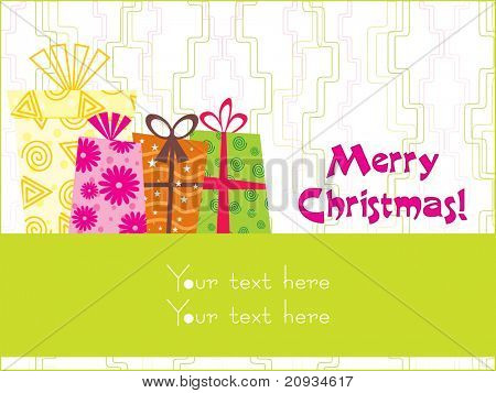 abstract christmas day background with many colorful gifts