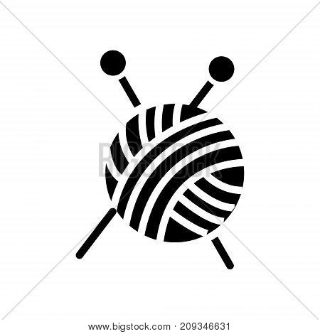 sewing - ball of yarn - knitting needles icon, illustration, vector sign on isolated background