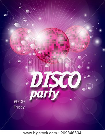 Pink purple poster for disco party with disco ball