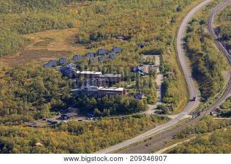 View of Abisko Mountain Lodge, Sweden from the downhill slope in September. Infrastructure and buildings, 2009