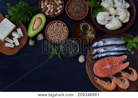 Composition Of Products Containing Unsaturated Fatty Acids Omega 3 - Fish, Nuts, Tofu, Avocado, Eggs