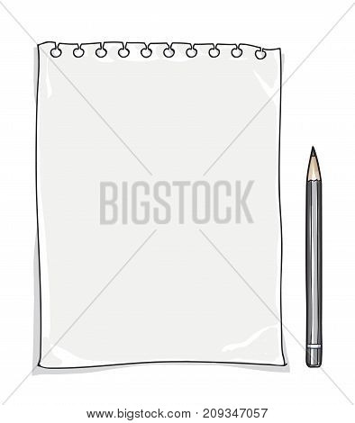 note paper and pencil hand drawn background cute vector art illustration