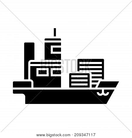 ship cargo container  icon, illustration, vector sign on isolated background