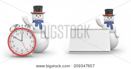 Snowman with alarm clock and snowman with calendar. New year and christmas comes. 3d illustration