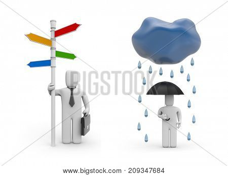 Person with signpost and person with umbrella. All directions are accessible to me! 3d illustration