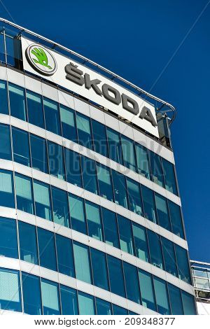 Prague, Czech Republic - October 14: Skoda Auto Automobile Manufacturer From Volkswagen Group Compan