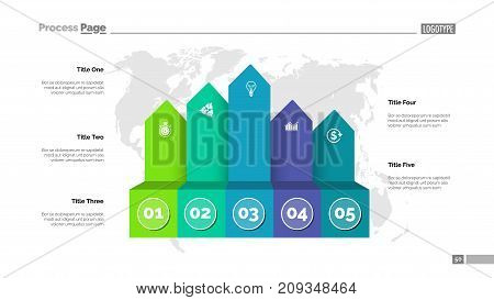 Five process chart slide template. Business data. Infochart, option, design. Creative concept for infographic, presentation, report. Can be used for topics like marketing, logistics, research.