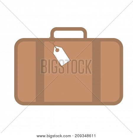 Flat luggage icon. Traveling bag with tag icon. Vector illustration.