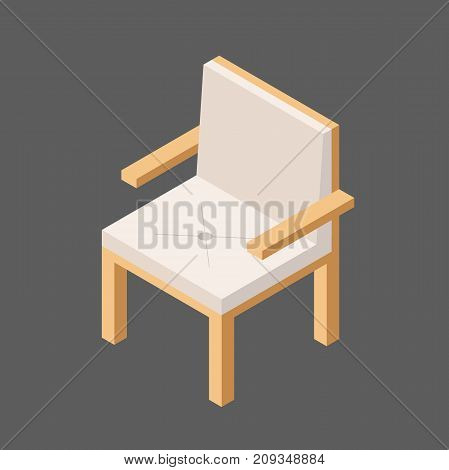 Soft High-backed Chair in Isometric view.Vector Illustration Isolated from Background. Chair with Armrests. White Armchair.