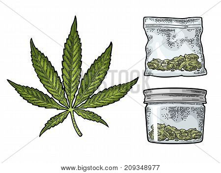 Marijuana leaf, glass jar with lid and plastic bag for cannabis. Hand drawn design element. Vintage black vector engraving illustration for label, poster, web. Isolated on white background