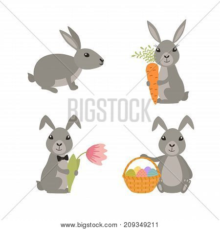 Set cute Easter rabbits. Rabbit with basket of eggs, carrots, flower. Vector illustration of holiday.