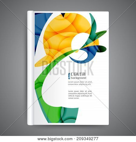 Color book design template with abstract lines and waves
