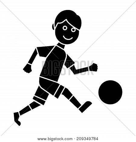 soccer player icon, illustration, vector sign on isolated background