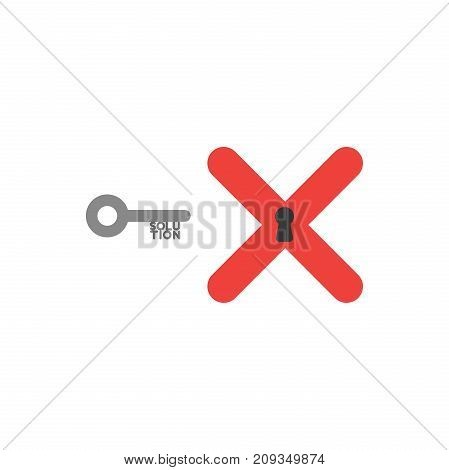 Flat design style vector illustration concept of grey key with solution text and red x mark with black keyhole symbol icon on white background.