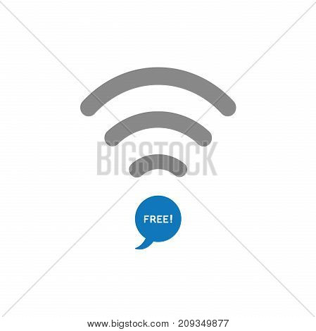 Flat design style vector illustration concept of grey wifi symbol with blue speech bubble icon and white free text on white background.