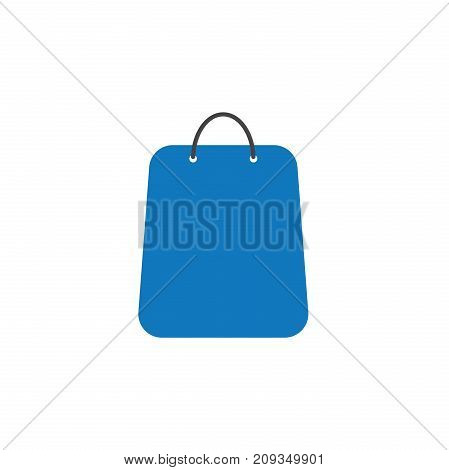 Flat design style vector illustration of blue shopping bag symbol icon on white background.