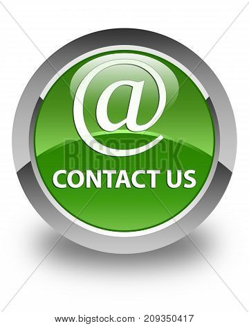 Contact us (email address icon) isolated on glossy soft green round button abstract illustration poster