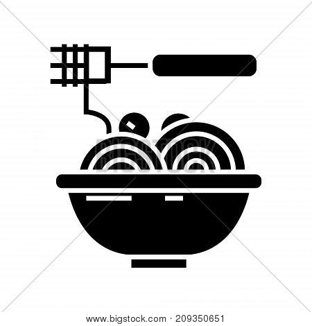 spaghetti bolognese with meatballs icon, illustration, vector sign on isolated background