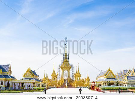 BANGKOK Thailand - October 15 2017: The nine-spired funeral pyre of the royal crematorium for the late HM King Bhumibol Adulyadej (King Rama 9) at Sanamluang close to Grand Palace and Emerald Buddha Temple